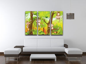 Illustration of a monkey in a jungle 3 Split Panel Canvas Print - Canvas Art Rocks - 3