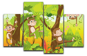 Illustration of a monkey in a jungle 4 Split Panel Canvas  - Canvas Art Rocks - 1