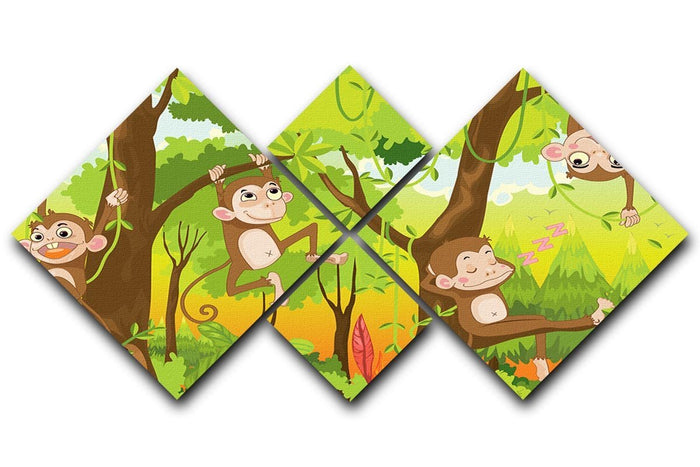 Illustration of a monkey in a jungle 4 Square Multi Panel Canvas