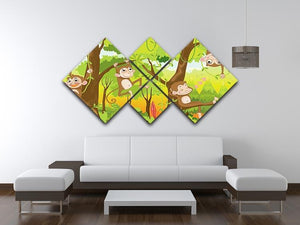 Illustration of a monkey in a jungle 4 Square Multi Panel Canvas - Canvas Art Rocks - 3