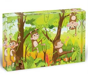 Illustration of a monkey in a jungle Acrylic Block - Canvas Art Rocks - 1