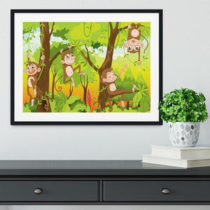 Illustration of a monkey in a jungle Framed Print - Canvas Art Rocks - 1