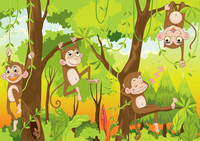 Illustration of a monkey in a jungle Wall Mural Wallpaper