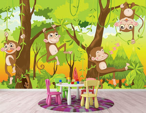 Illustration of a monkey in a jungle Wall Mural Wallpaper - Canvas Art Rocks - 2