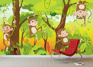 Illustration of a monkey in a jungle Wall Mural Wallpaper - Canvas Art Rocks - 3