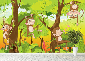 Illustration of a monkey in a jungle Wall Mural Wallpaper - Canvas Art Rocks - 4