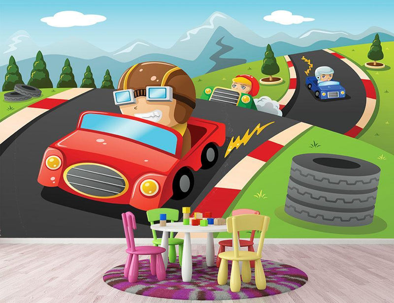 Illustration of happy kids in a car racing Wall Mural Wallpaper - Canvas Art Rocks - 1