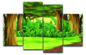 Illustration of the giant trees in the forest 4 Split Panel Canvas  - Canvas Art Rocks - 1