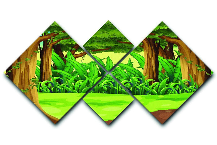 Illustration of the giant trees in the forest 4 Square Multi Panel Canvas