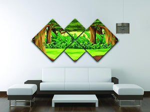Illustration of the giant trees in the forest 4 Square Multi Panel Canvas - Canvas Art Rocks - 3