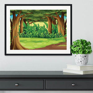 Illustration of the giant trees in the forest Framed Print - Canvas Art Rocks - 1