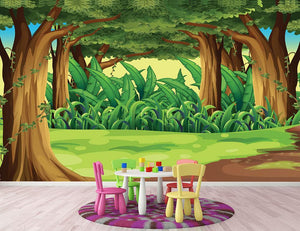 Illustration of the giant trees in the forest Wall Mural Wallpaper - Canvas Art Rocks - 2