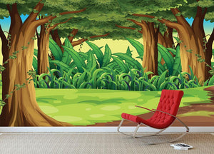 Illustration of the giant trees in the forest Wall Mural Wallpaper - Canvas Art Rocks - 3
