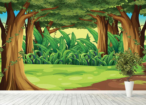 Illustration of the giant trees in the forest Wall Mural Wallpaper - Canvas Art Rocks - 4