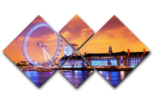 Ilumination of the London Eye 4 Square Multi Panel Canvas  - Canvas Art Rocks - 1
