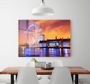 Ilumination of the London Eye HD Metal Print