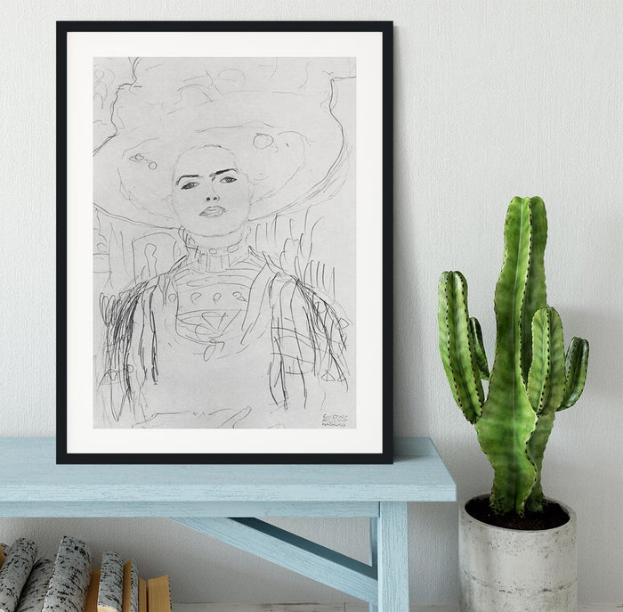 Image of a girl with a big hat by Klimt Framed Print