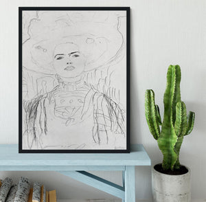 Image of a girl with a big hat by Klimt Framed Print - Canvas Art Rocks - 2