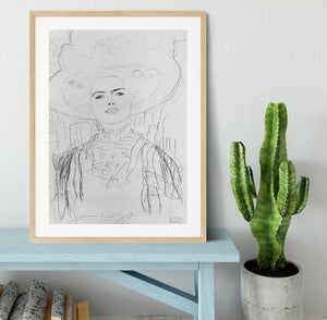 Image of a girl with a big hat by Klimt Framed Print - Canvas Art Rocks - 3