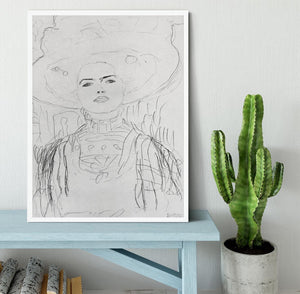 Image of a girl with a big hat by Klimt Framed Print - Canvas Art Rocks -6