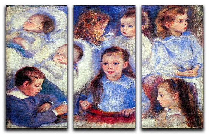 Images of childrens character heads by Renoir 3 Split Panel Canvas Print