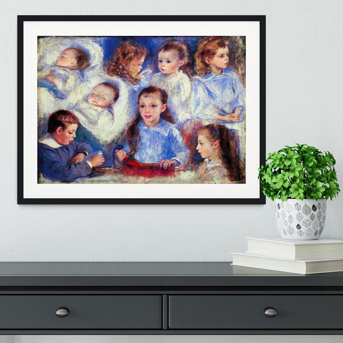 Images of childrens character heads by Renoir Framed Print