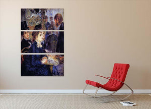 In the Cafe by Renoir 3 Split Panel Canvas Print - Canvas Art Rocks - 2