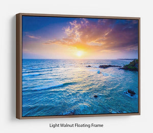 Indian ocean on sunset Floating Frame Canvas