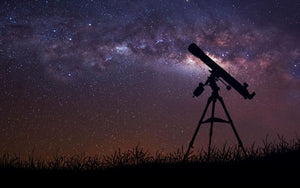 Infinite space background with silhouette of telescope Wall Mural Wallpaper - Canvas Art Rocks - 1