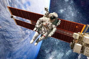 International Space Station and astronaut Wall Mural Wallpaper - Canvas Art Rocks - 1