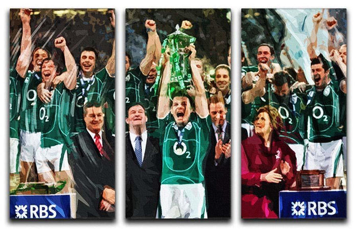 Ireland 6 Nations Grand Slam 2018 3 Split Panel Canvas Print