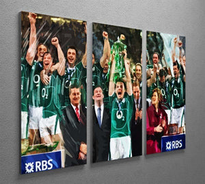 Ireland 6 Nations Grand Slam 2018 3 Split Panel Canvas Print - Canvas Art Rocks - 2