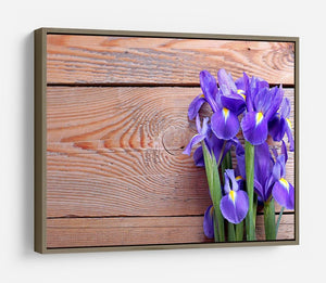 Iris on an old wooden background HD Metal Print