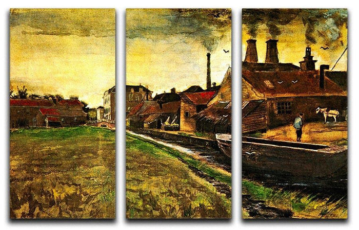 Iron Mill in The Hague by Van Gogh 3 Split Panel Canvas Print