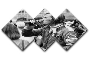 James Hunt swigging champagne 4 Square Multi Panel Canvas  - Canvas Art Rocks - 1