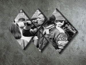 James Hunt swigging champagne 4 Square Multi Panel Canvas - Canvas Art Rocks - 2