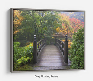 Japanese Garden Oregon in Autumn Floating Frame Canvas