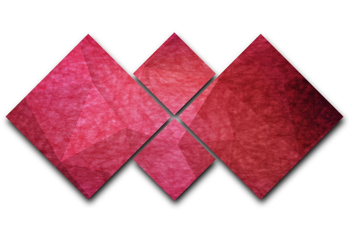 Japanese paper red background 4 Square Multi Panel Canvas