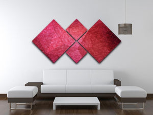 Japanese paper red background 4 Square Multi Panel Canvas  - Canvas Art Rocks - 3