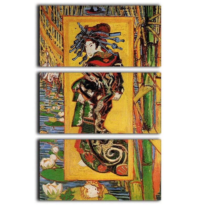 Japonaiserie Oiran after Kesa Eisen by Van Gogh 3 Split Panel Canvas Print