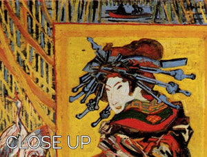 Japonaiserie Oiran after Kesa Eisen by Van Gogh 3 Split Panel Canvas Print - Canvas Art Rocks - 3