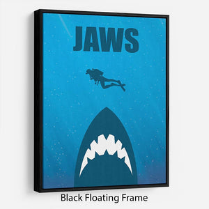 Jaws Minimal Movie Floating Frame Canvas - Canvas Art Rocks - 1