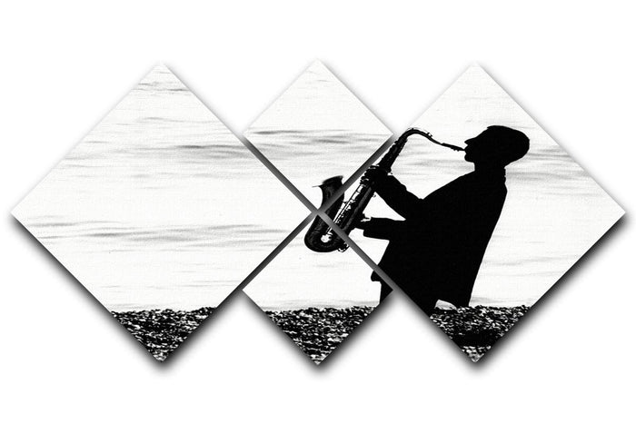 Jazz on the beach 4 Square Multi Panel Canvas