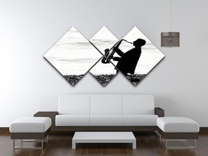 Jazz on the beach 4 Square Multi Panel Canvas - Canvas Art Rocks - 3