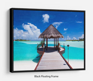 Jetty with amazing ocean Floating Frame Canvas - Canvas Art Rocks - 1