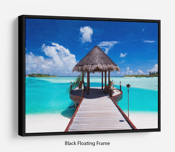 Jetty with amazing ocean Floating Frame Canvas