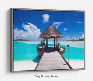 Jetty with amazing ocean Floating Frame Canvas - Canvas Art Rocks - 3