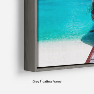 Jetty with amazing ocean Floating Frame Canvas - Canvas Art Rocks - 4