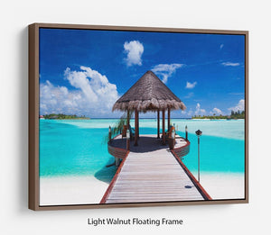 Jetty with amazing ocean Floating Frame Canvas - Canvas Art Rocks 7