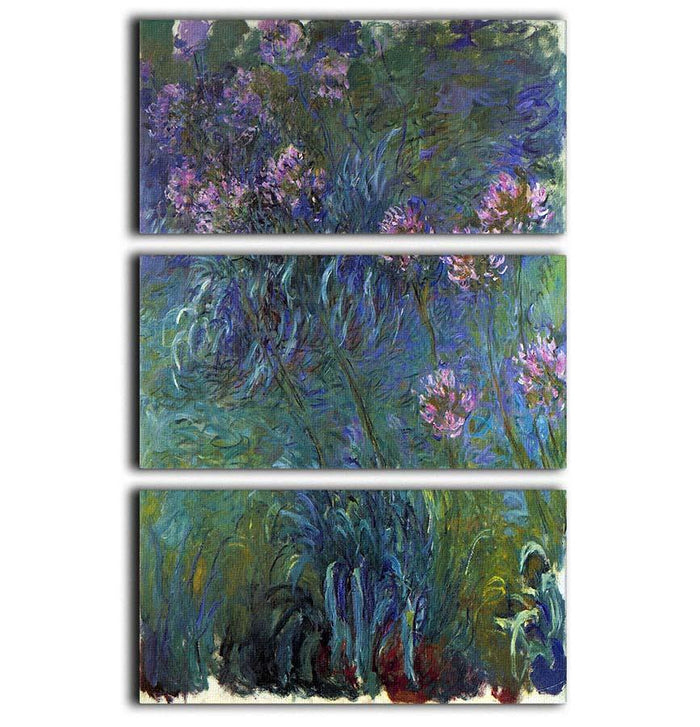 Jewelry lilies by Monet 3 Split Panel Canvas Print